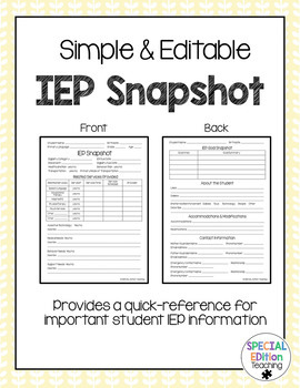 Simple & Editable IEP Snapshot