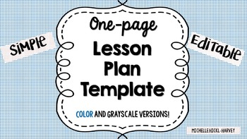 Simple Editable Lesson Plan Template