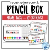 Simple Editable Pencil Box Name Tags for Kindergarten / Primary Grades