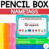 Simple Editable Pencil Box Name Tags for Kindergarten / Pr