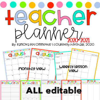 2018-2019 Lesson Planner Simple Editable Teacher