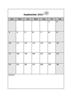 Simple, Editable portrait style calendar 17-18