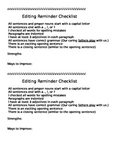 Simple Editing Checklist for 2nd-3rd Graders