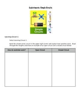 Simple Electrical Circuits Virtual Lab Handout for Exploriments iPad App