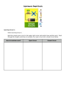 Simple Electrical Circuits Virtual Lab Handout for Explori