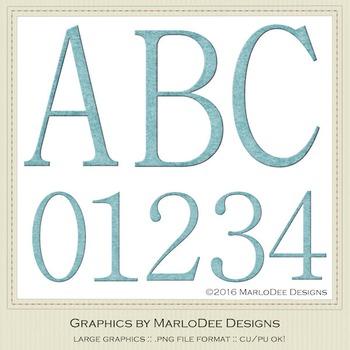 Simple Elegant Light Blue Letter & Number Graphics
