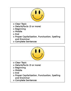 Simple Elementary Writing Checklist