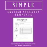 Simple English Syllabus Template