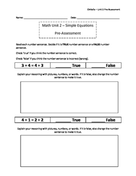 Simple Equations - Pre - Post Assessement