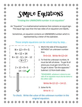 Simple Equations.  Solving the Unknown number in an equation