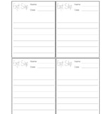 Simple Exit Slips (4 Per Page)