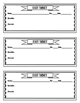 image relating to Printable Exit Tickets identified as Exit Ticket Templates Worksheets Training Materials TpT