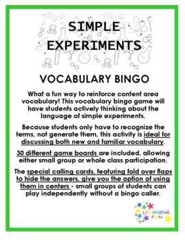 Simple Experiments Vocabulary Bingo