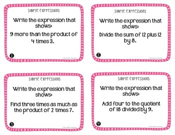 Simple Expressions Task Cards for 5th Grade