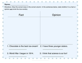 Simple Fact and Opinion Cut-out Worksheet and Questions