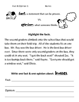 Simple Fact vs. Opinion Worksheets by Kelly MacDonell | TpT