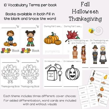 Simple Vocabulary Books {Fall, Halloween & Thanksgiving}