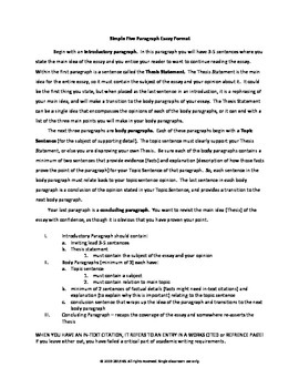 Simple Five Paragraph Essay Format by KS Wordsmithy TpT