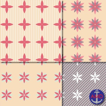 Simple Floral Papers for Backgrounds and More
