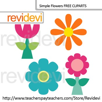 Simple Flowers cliparts set of 4 (free clip art)
