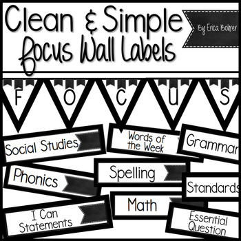 Clean and Simple Focus Wall Labels & Schedule Labels