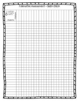 Simple Formative Assessment Check Off Data Tracker