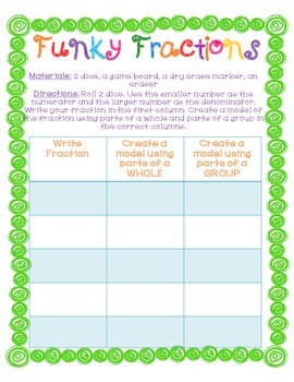 FREE Fraction Game: Funky Fractions