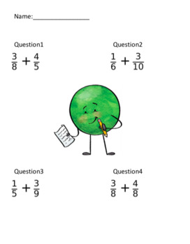 Simple Fraction Addition (20 Questions)