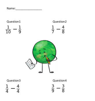 Simple Fraction Subtraction (20 Questions)