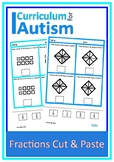 Simple Fractions of Shapes Cut Paste Autism Special Education