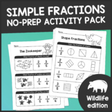 Simple Fractions For Beginners: NO PREP Math Activity Worksheet Pack