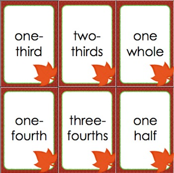 "Simple Fractions ""Slap-It!"" Card Game Math Center Fall Themed"