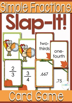 """Simple Fractions """"Slap-It!"""" Card Game Math Center Fall Themed"""