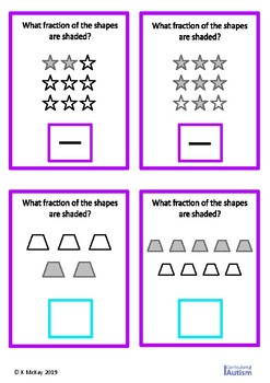Simple Fractions of Shapes Write and Wipe Autism Special Education