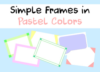 Simple Frames in Pastel Colors for Flash Cards DIY