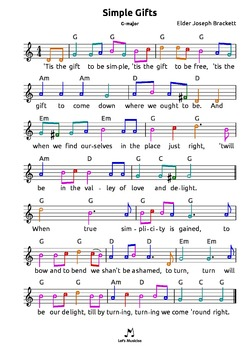 Simple Gifts (Lord of the Dance*) tabs 4 recorder guitar ukulele bass drums etc
