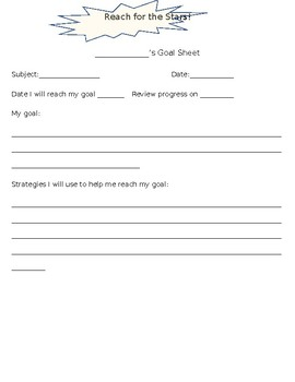 Simple Goal Sheet for Students