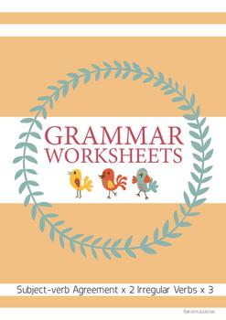 Irregular Verbs & Subject-verb agreement Homework/Language Center Sheets