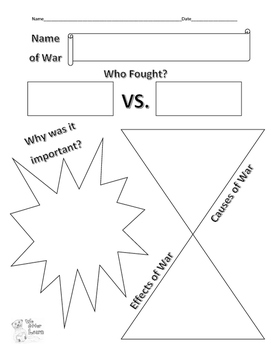 Simple Graphic Organizer for Wars
