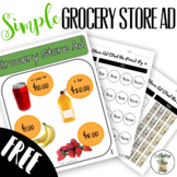 Simple Grocery Store Ad FREEBIE - File Folder Activities