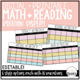 Simple Guided Math + Reading Rotation Management Display   Printable + Digital!