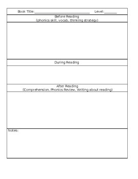 Simple Guided Reading Template