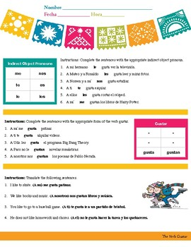 Simple Gustar Worksheet