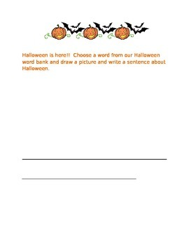 Simple Halloween Picture/Sentence Interactive Whiteboard