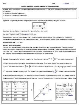 AP, Physics, Simple Harmonic Motion, Oscillations - Mass on a Spring LAB