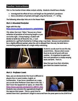 Simple Harmonic Motion Video Analysis Activity