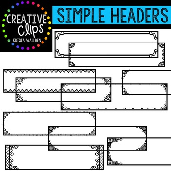 Simple Headers {Creative Clips Digital Clipart}