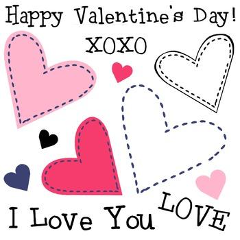 Simple Hearts Clip Art, Valentine's Day Clipart, Cute Sewn Stitches