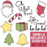Simple Holiday Shapes - Santa, Christmas Tree, Stocking, Candy Cane, Present