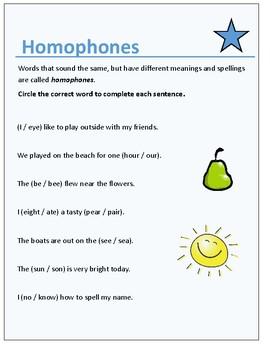 Simple Homophones Worksheet